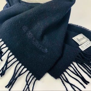 Harrolds Scarf Men Black Lambswool Pure new Wool
